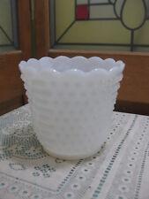 """Vintage Anchor Hocking """"Fire King"""" Oven Ware Milk Glass Hobnail Planter / Vase"""