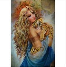 5D Diamond Gold Beauty Tiger Cross Full Drill Stitch Kits Painting Art Decors