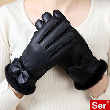 Wooled Double-face  Leather Gloves Women Sheepskin Real Fur