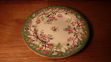 """FANTASTIC ANTIQUE FRENCH PORCELAIN 8"""" PLATE - EMERALD GREEN HAND-PAINTED FLORAL"""