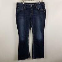 Silver Suki Surplus Flap Pocket Boot Cut Womens Dark Wash Blue Jeans Size 33x32