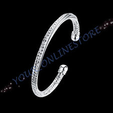Stunning 925 Sterling Silver Plated Twisted Bangle Cuff