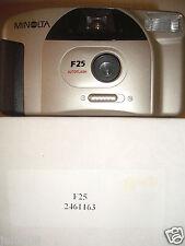 RARA Minolta F25 35M Film Camera ~ costruito in flash autofocus ~ ~ riduzione occhi rossi 26A15
