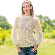 Sommer Elfenbeinweiß TOP hand knitted Mohair Pullover Fuzzy Licht Sexy Jersey SALE