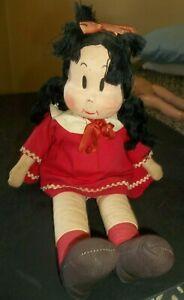 "Vtg Little Lulu Cloth Doll - 1959 - 15"" tall Comic Strip Character"