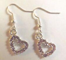 Boucles d'oreilles argentées coeur strass rose 20x18mm