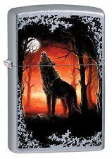 ZIPPO Benzin Feuerzeug Einsamer Wolf heult im Wald 60002725 NEU