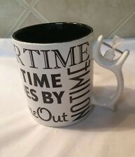 DEPT 56 Hourgalss SPINNER Time Out No Time After Time Goes By Coffee Tea Mug