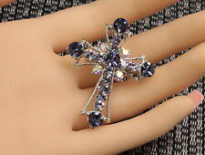 sparkly violet purple crystal Christ cross brooch pin Birthday wedding dress D32