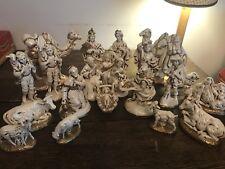 Vintage Nativity Set Atlantic Mold Ceramic 20 pc Ivory Gold Figurines