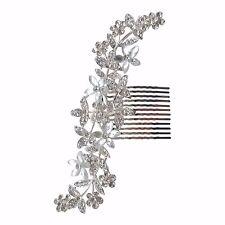 SPOSA PETTINE Decorativo per Capelli Copricapo LARGE SILVER CRYSTAL SPARKLE Vintage Diamante H226