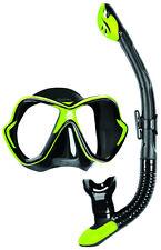Mares X Vision Ergo Dry Mask & Snorkel Set. All Black Lime Trim