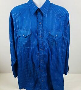 Panhandle Slim Mens Western Pearl Snap Front Long Sleeve Shirt Size XL 18-34