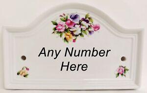 Sweet Pea Ceramic Bridge House Number Door Plaque Sign Any Number Decorated UK