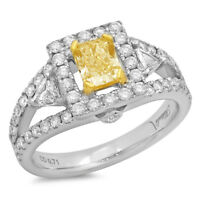Fancy Yellow Radiant Diamond 18k Two Tone Gold Solitaire Ring Size 6.75