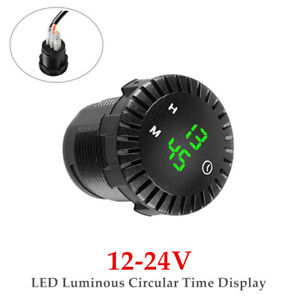 12-24V Marine Auto Car Clock Refit Interior LED Luminous Circular Time Display