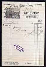 96103 Lucerne Luzern um 1890 Briefbogen Stahlstich Hotel du Cheval Blanc Marti