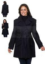 Womens Plus Size 24 Short Black Wool Coat