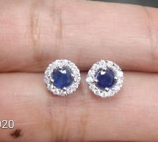 Deal! 1.00 CTW Genuine Natural Sapphire & Diamond Stud Halo Earrings 14K Gold