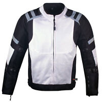 Mens Storm Mesh Armored Reflective Waterproof White Motorcycle Jacket