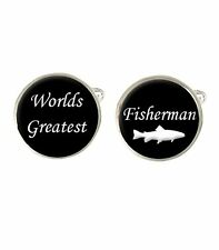 Worlds Greatest Fisherman Mens Cufflinks Birthday Fathers Day Fishing Gift C613