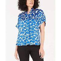 Alfani Women's Collared Printed Blouse Button Front Floral Top (Blue, M)