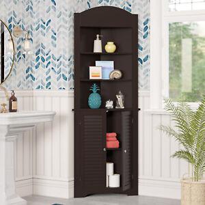 Tall Corner Cabinet Storage Organizer 5-Shelf Linen Closet Kitchen Hutch Brown