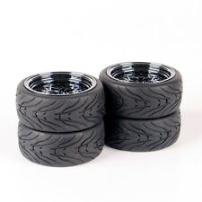 4PCS 1/10 RC On Road Rubber Tire & 12mm Hex Wheel Rims For HSP HPI Racing car