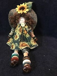 Cute Little Doll Handmade From Buttons & Spools