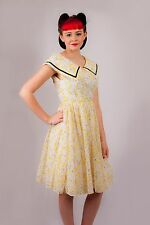 50s vintage white black & yellow flocked daisy summer day dress BLANES