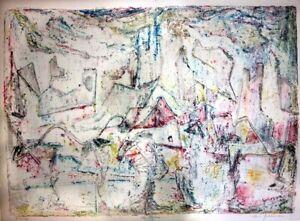 "Morris Yudelson – Original Painting/ ""Pink City Rhythm"" - 1982"