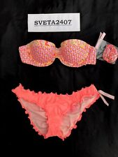 Victoria's Secret Bikini~Flirt Bandeau~Ruffle Cheeky~Neon Nectar/Paisley~32B/S
