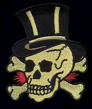 Skull and Bone patch Top hat Traditional Tattoo Rockabilly Punk Goth