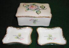 Vintage Porcelain China Trinket Box With Lid + 2 Trinket Trays ACME Japan  1158