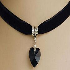Black Crystal Heart Pendant Velvet Choker Necklace Jewelry Gift