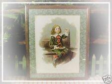 """Antique Little Jack Horner """"Eating Xmas Pie"""" Litho Book in Wood Frame Vtg Paper"""