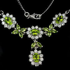 Sterling Silver 925 Genuine Natural Apple Green Peridot Necklace & Drop 18 Inch