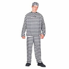 Totally Ghoul Convict Black & White Striped Men's Halloween Costume One Size