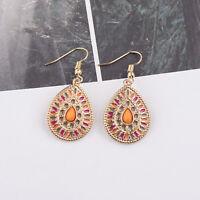 Fashion Bohemian Style Round Colour Water Drop Pendant Women Vintage Earrings