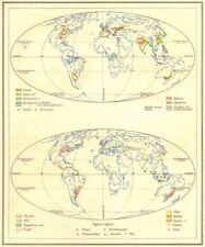 WORLD. Voortbrengselen; Specerijen 1922 old vintage map plan chart
