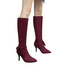 Elegant Women Wine Red/Black Pointy Toe Casual Stilettos Mid Calf Boots 44/48 D