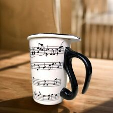 13.5 Oz Mug for Music Lover Coffee Cup with Lid Music Notes Tea Milk Ceramic