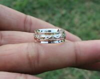 Solid 925 Sterling Silver Wide Band Copper  Spinner ring Handmade All Size g-25