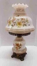 """Vintage 1970's Gone With The Wind Floral 3 Way 25"""" Hurricane Parlor Lamp"""