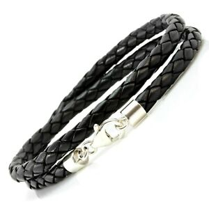 Mens 5mm Braided Double Wrapped Leather & Sterling Silver Bracelet-Black