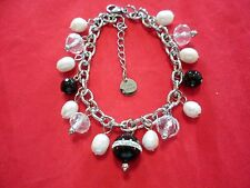 Black Onyx, Faceted Glass Beads, Austrian Crystal, Freshwater Pearl Bracelet