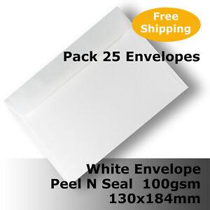 "25 x Envelopes White 130x184mm 5x7"" Wallet Shape 100gsm Peel N Seal #E36CA #ADGL"
