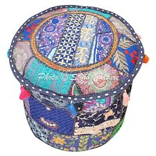 Bohemian Round Pouffe Cover Blue Patchwork Cotton 22 Inch Embroidered Floral