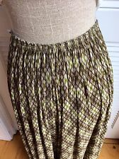 Irie' French,Wide Pleated plisse' Leg,Nylon, Green,cream,brown,Printed Pant Ml