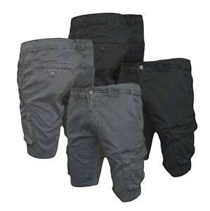 Bermuda Uomo Cargo Cotone Corto Shorts Casual Pantaloncino Tasche Laterali J633
